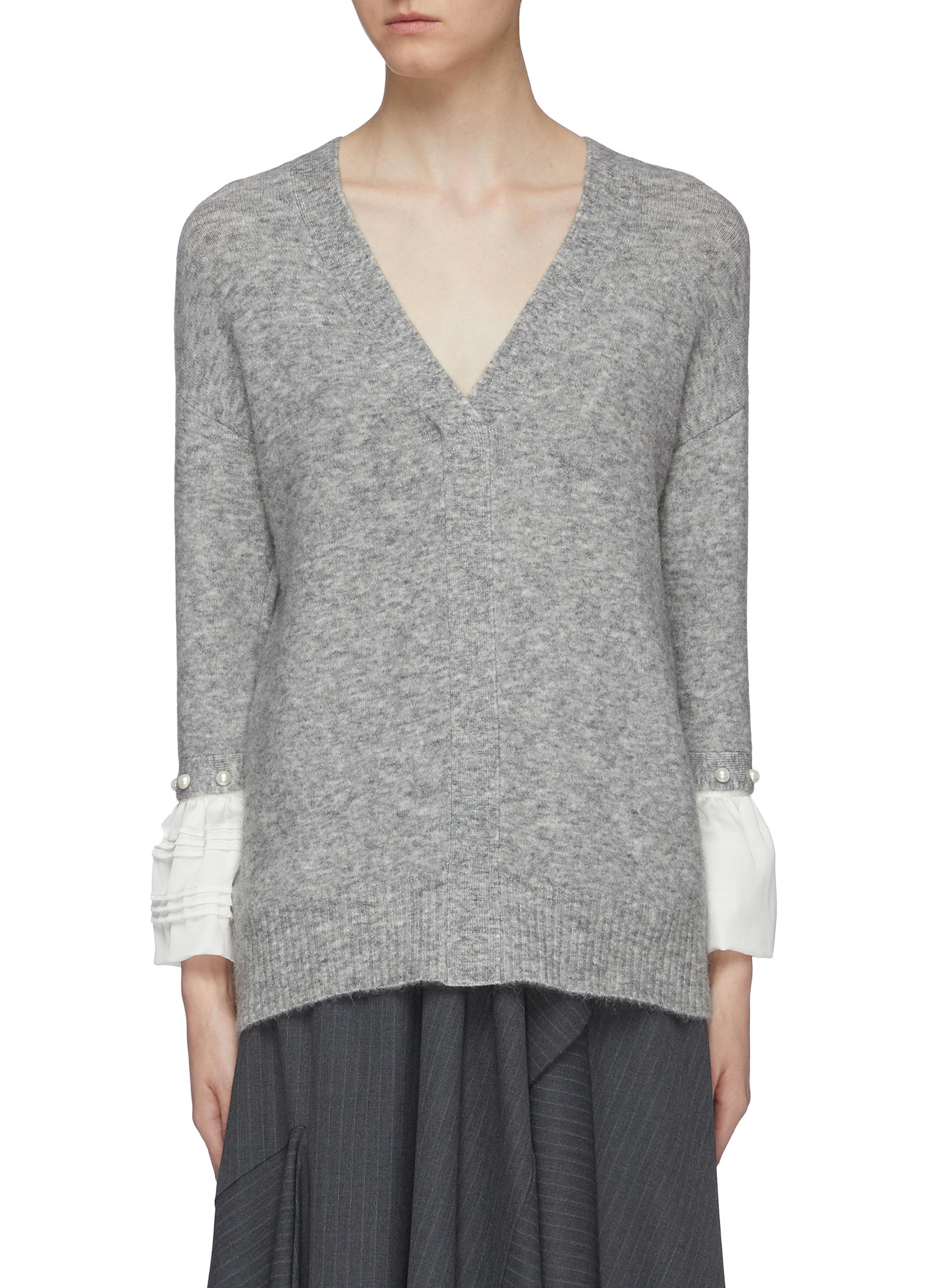 Faux pearl ruffle cuff V-neck sweater by 3.1 Phillip Lim