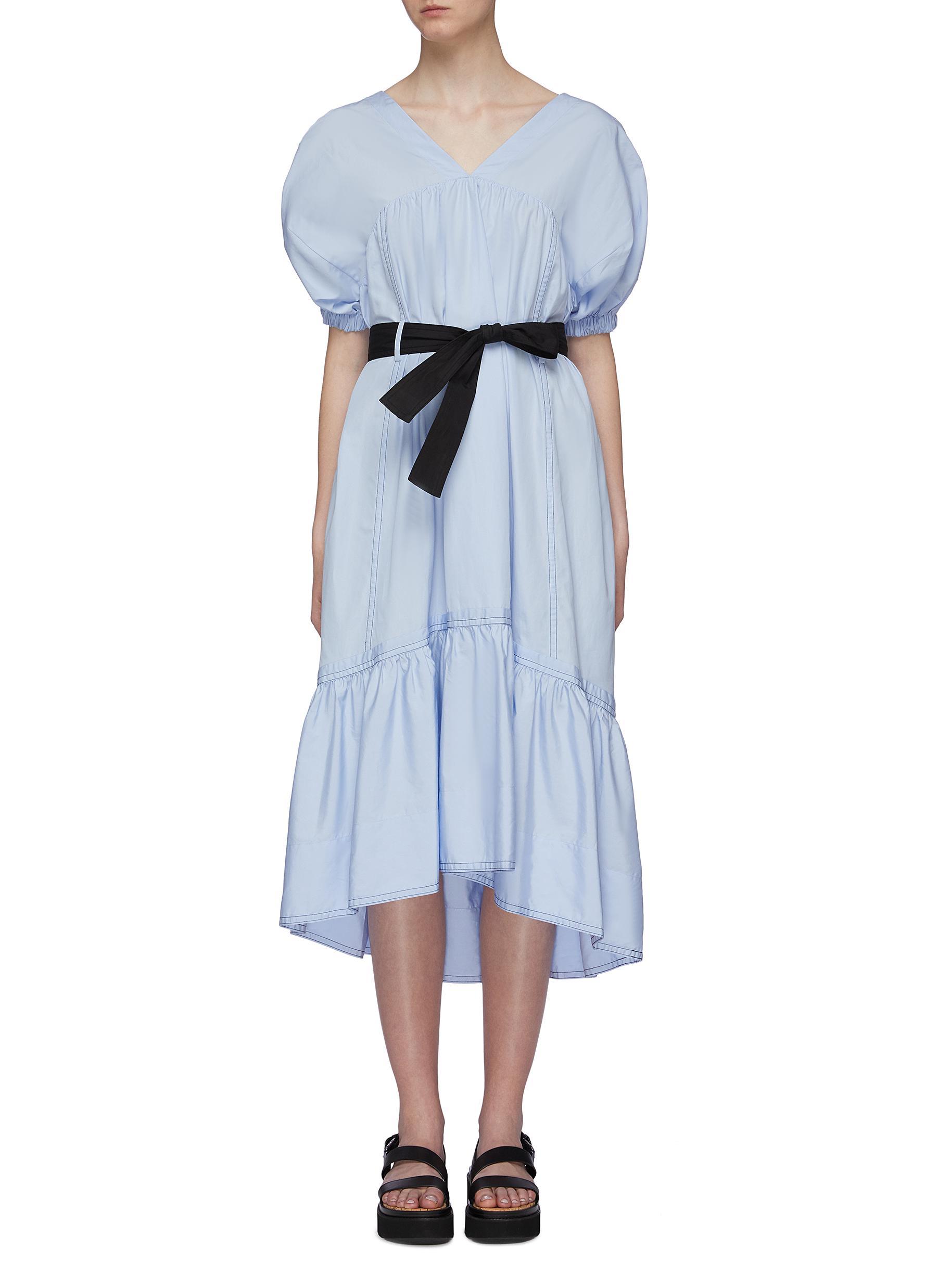 Belted puff sleeve cutout back peplum midi dress by 3.1 Phillip Lim