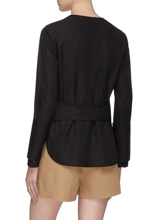 Back View - Click To Enlarge - 3.1 PHILLIP LIM - Belted back faux pearl button cuff shirt