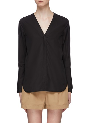 Main View - Click To Enlarge - 3.1 PHILLIP LIM - Belted back faux pearl button cuff shirt