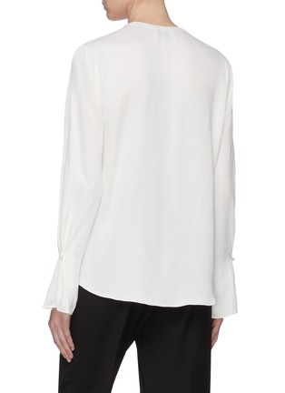 Back View - Click To Enlarge - 3.1 PHILLIP LIM - Faux pearl trim mock wrap V-neck blouse