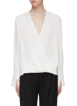 Main View - Click To Enlarge - 3.1 PHILLIP LIM - Faux pearl trim mock wrap V-neck blouse