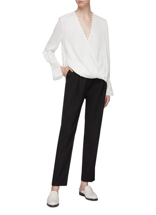 Figure View - Click To Enlarge - 3.1 PHILLIP LIM - Faux pearl trim mock wrap V-neck blouse