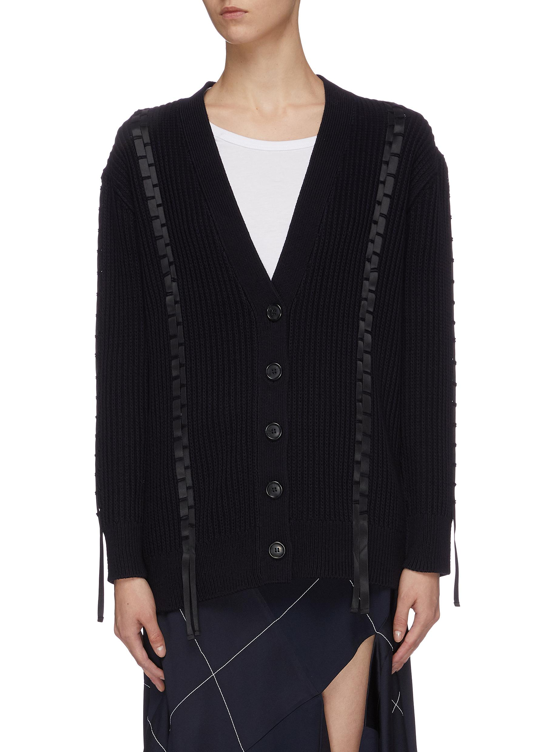Ribbon trim cotton-wool cardigan by 3.1 Phillip Lim