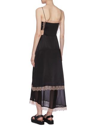 Back View - Click To Enlarge - 3.1 PHILLIP LIM - Lace trim chiffon slit hem satin camisole dress
