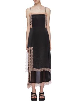 Main View - Click To Enlarge - 3.1 PHILLIP LIM - Lace trim chiffon slit hem satin camisole dress