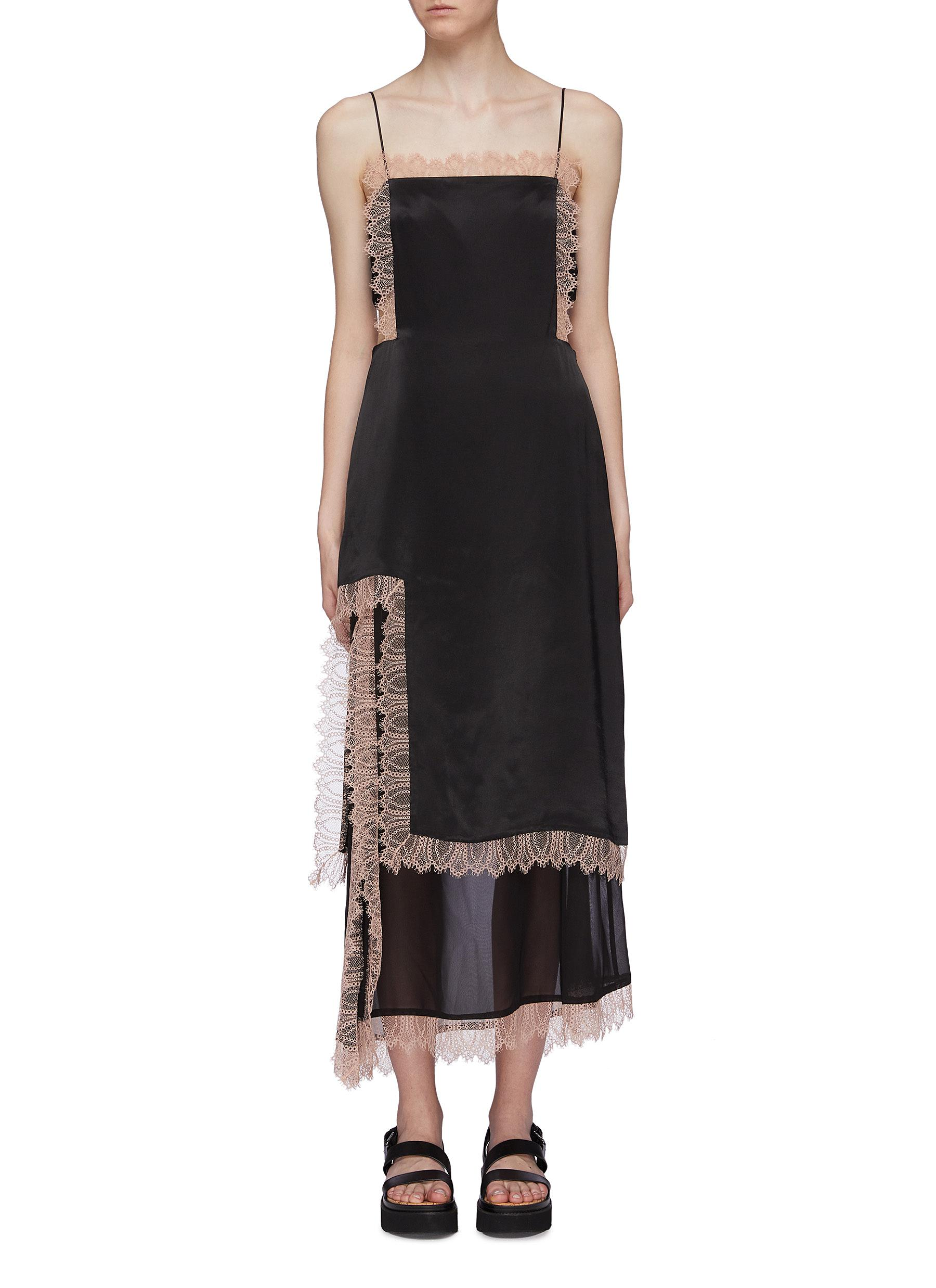 Lace trim chiffon slit hem satin camisole dress by 3.1 Phillip Lim
