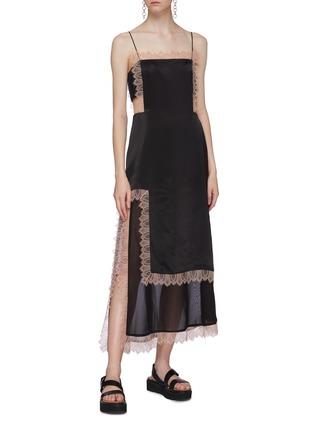 Figure View - Click To Enlarge - 3.1 PHILLIP LIM - Lace trim chiffon slit hem satin camisole dress