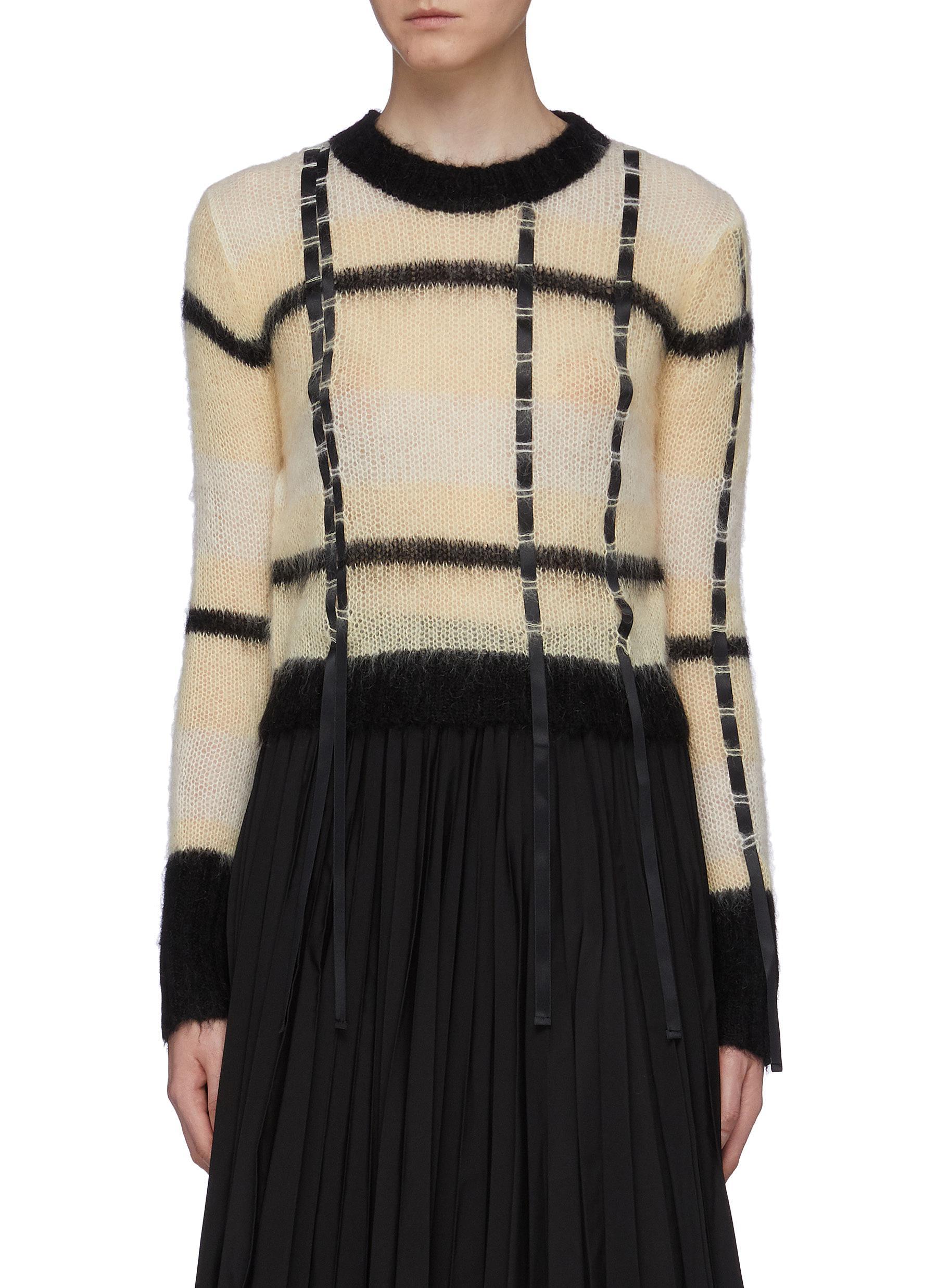 Ribbon trim colourblock check sweater by 3.1 Phillip Lim