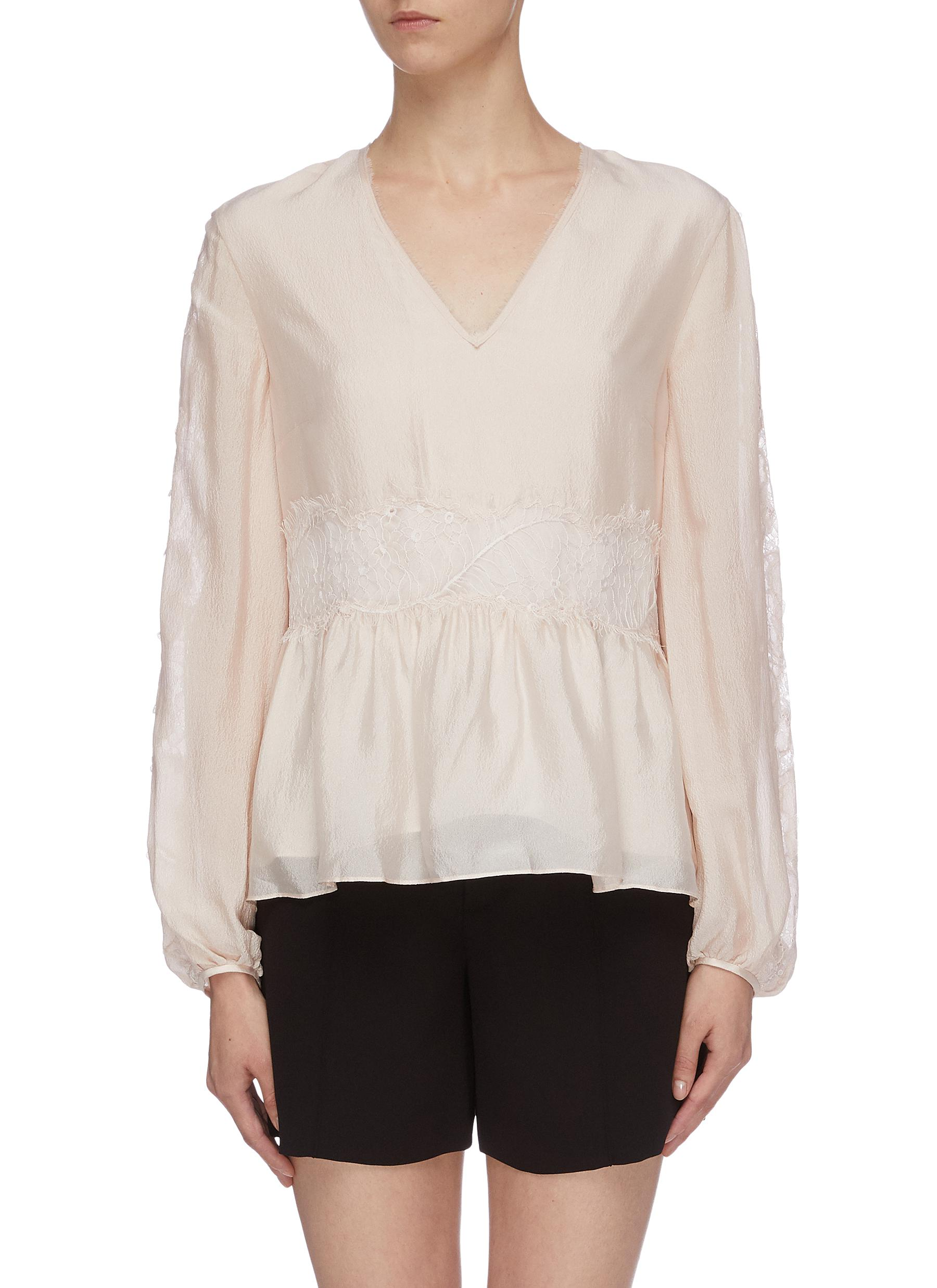 Lace insert crinkled silk V-neck peplum top by 3.1 Phillip Lim