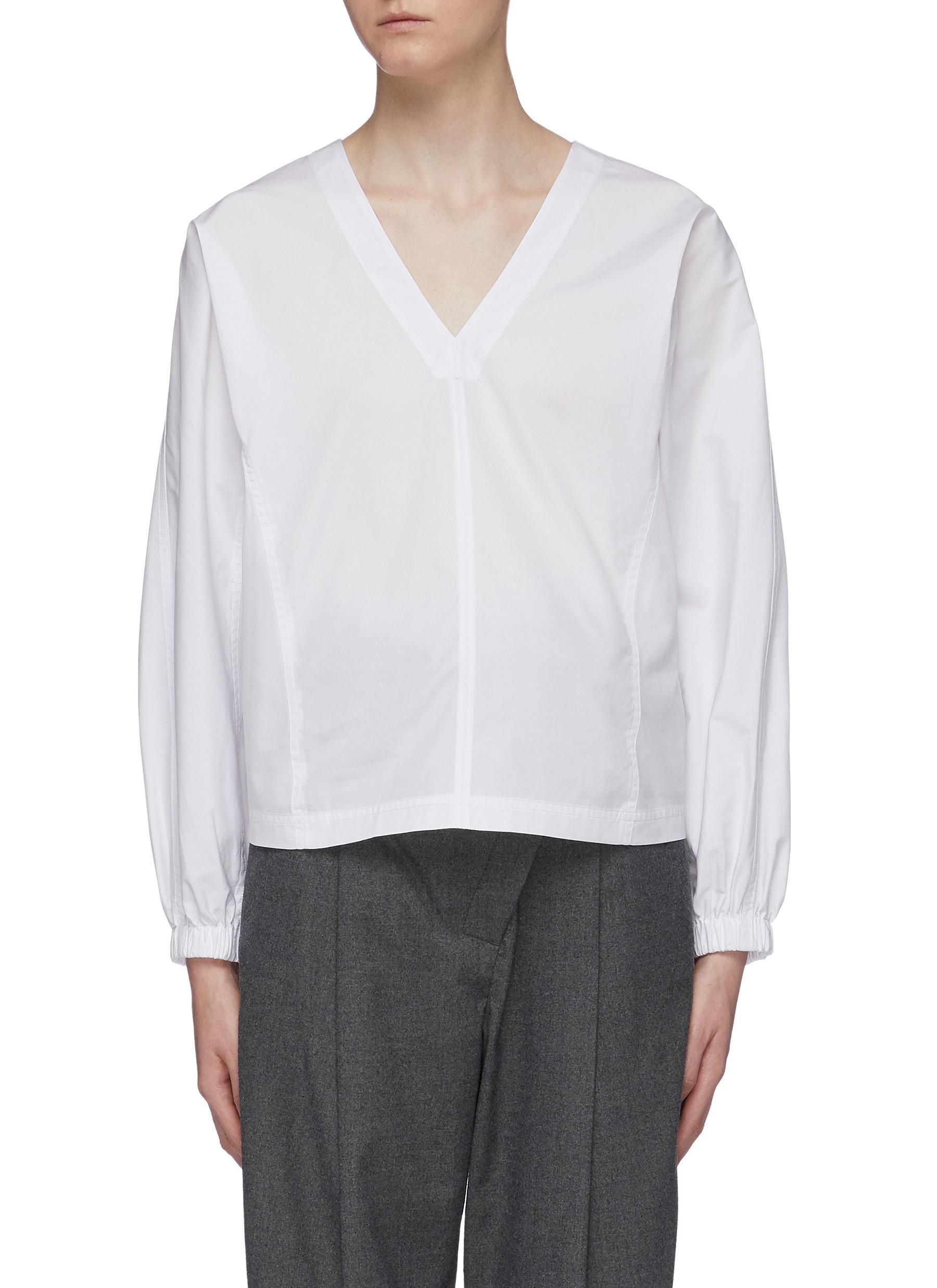 Balloon sleeve V-neck poplin blouse by 3.1 Phillip Lim