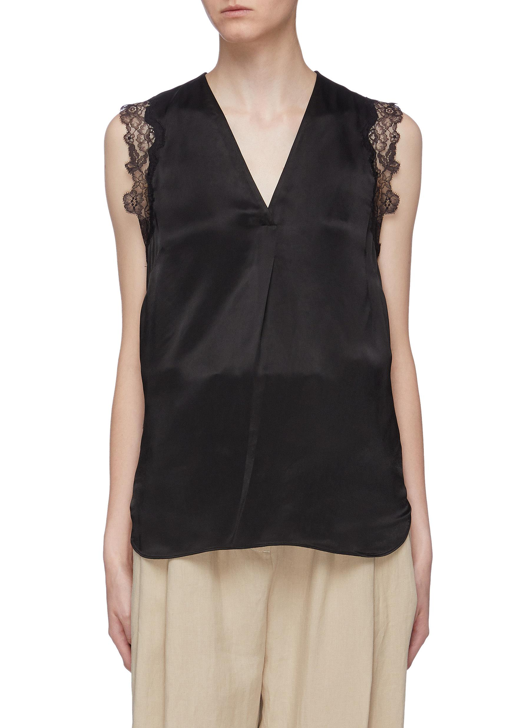 Chantilly lace trim satin V-neck top by 3.1 Phillip Lim