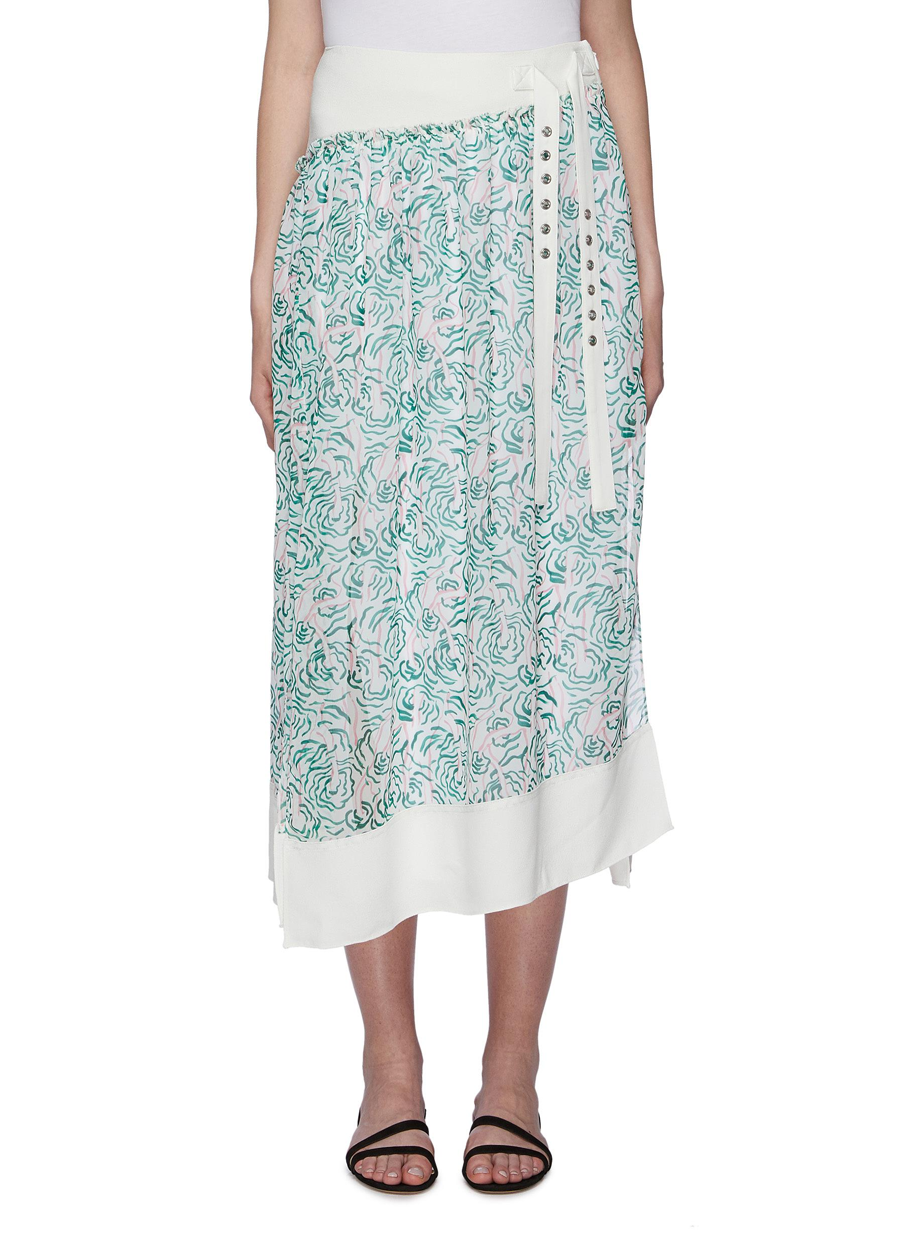 Sash tie floral print asymmetric pleated midi skirt by 3.1 Phillip Lim