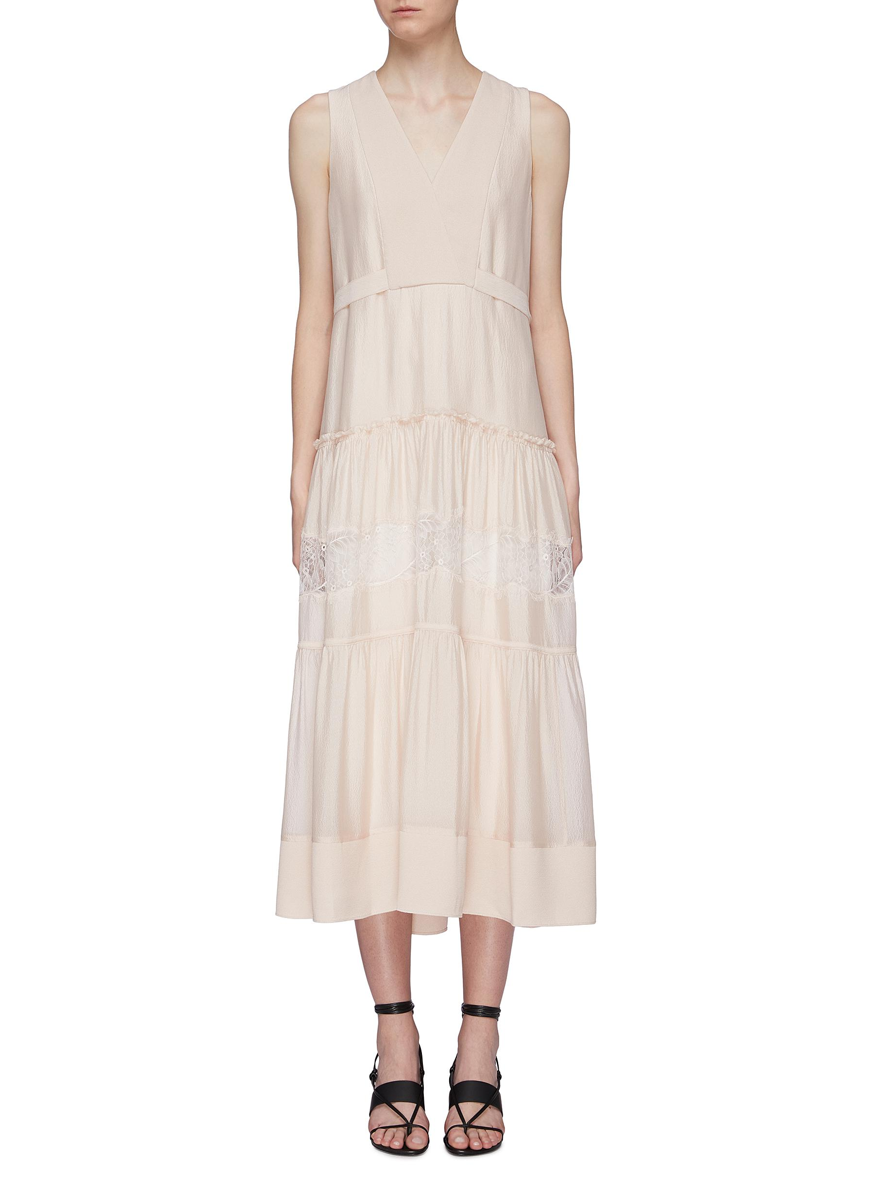 Belted back lace insert tiered silk sleeveless dress by 3.1 Phillip Lim