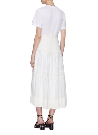 Back View - Click To Enlarge - 3.1 PHILLIP LIM - Belted lace insert tiered skirt silk T-shirt dress