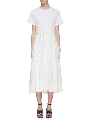 Main View - Click To Enlarge - 3.1 PHILLIP LIM - Belted lace insert tiered skirt silk T-shirt dress