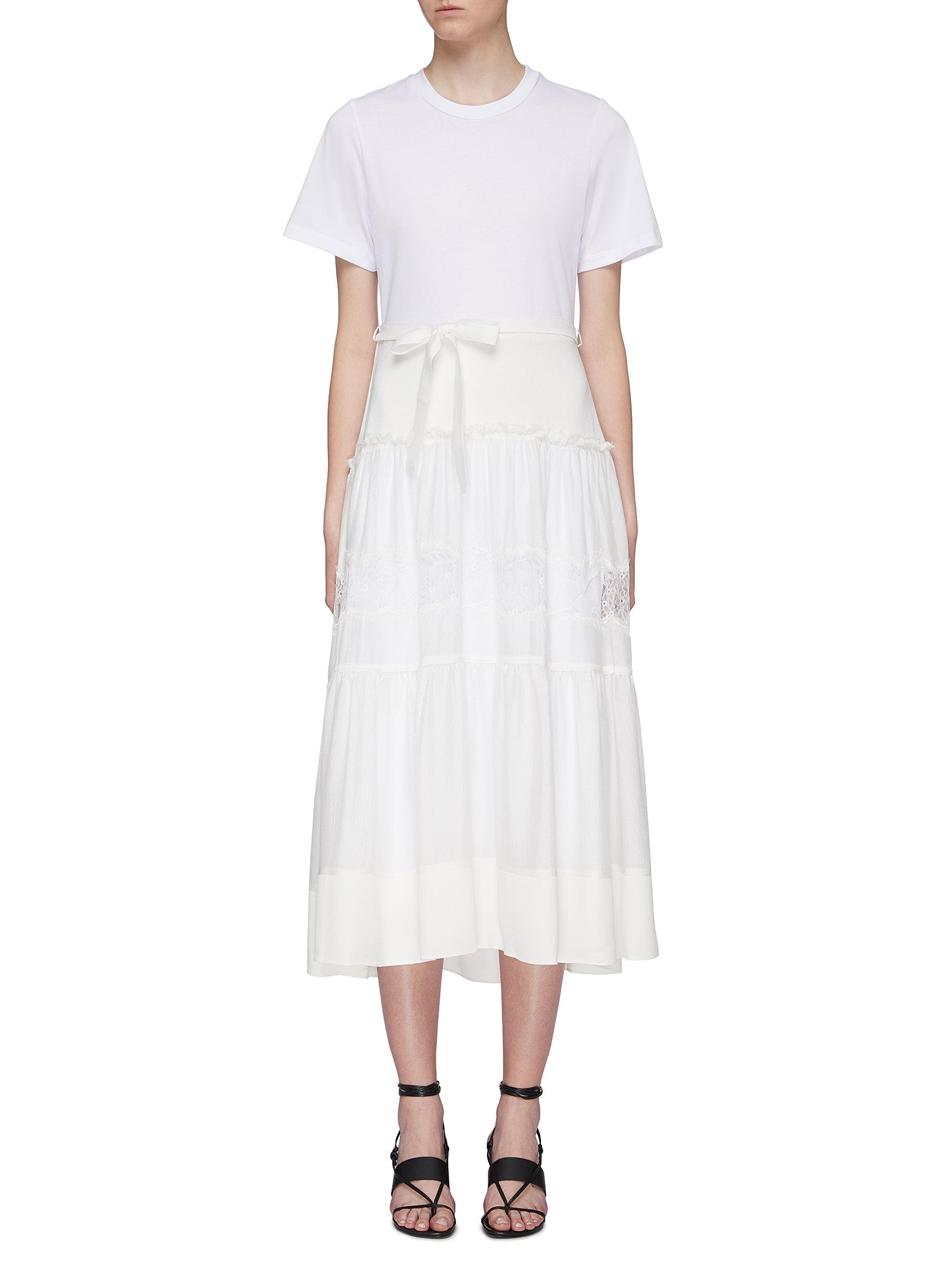 Belted lace insert tiered skirt silk T-shirt dress by 3.1 Phillip Lim