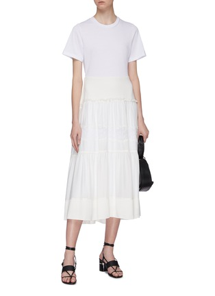 Figure View - Click To Enlarge - 3.1 PHILLIP LIM - Belted lace insert tiered skirt silk T-shirt dress