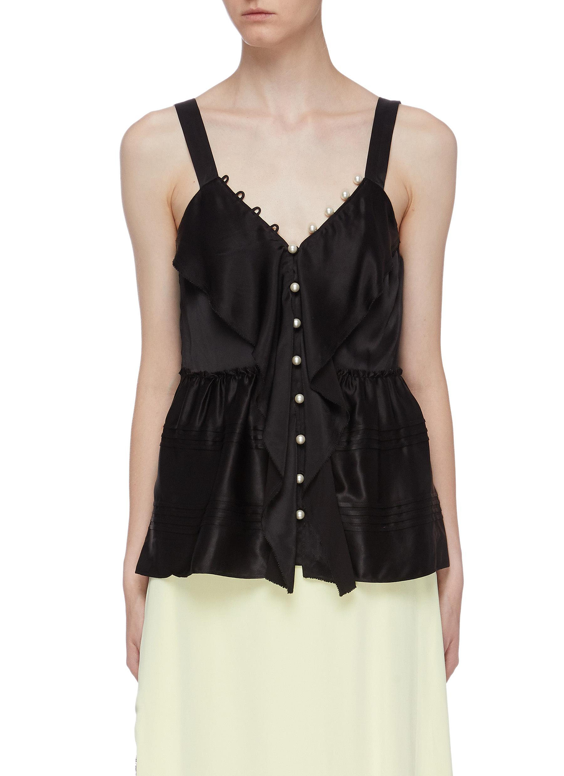 Faux pearl ruffle trim peplum satin camisole top by 3.1 Phillip Lim