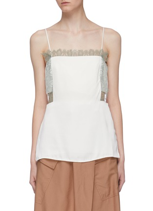 Main View - Click To Enlarge - 3.1 PHILLIP LIM - Lace trim cutout waist square neck camisole top