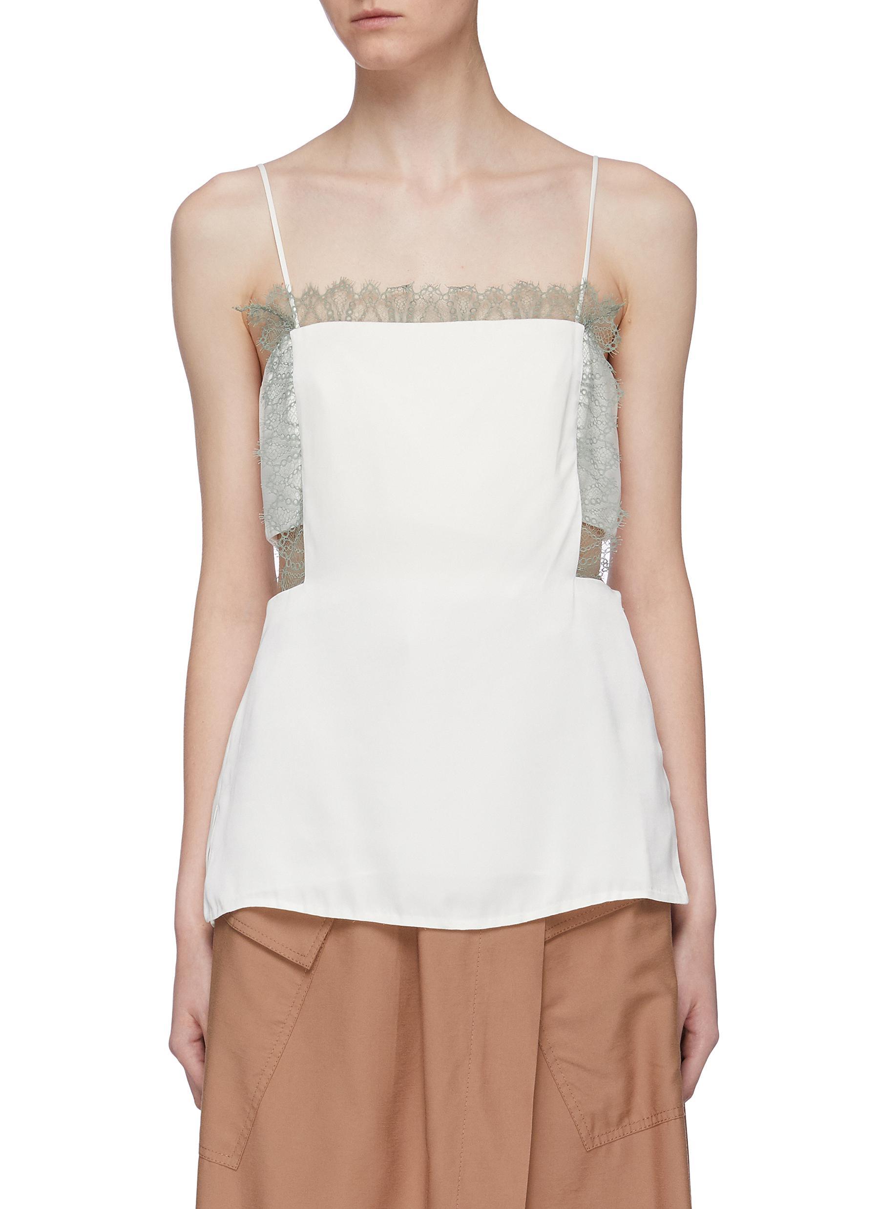 Lace trim cutout waist square neck camisole top by 3.1 Phillip Lim