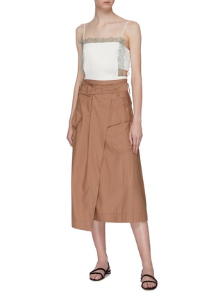 Figure View - Click To Enlarge - 3.1 PHILLIP LIM - Lace trim cutout waist square neck camisole top