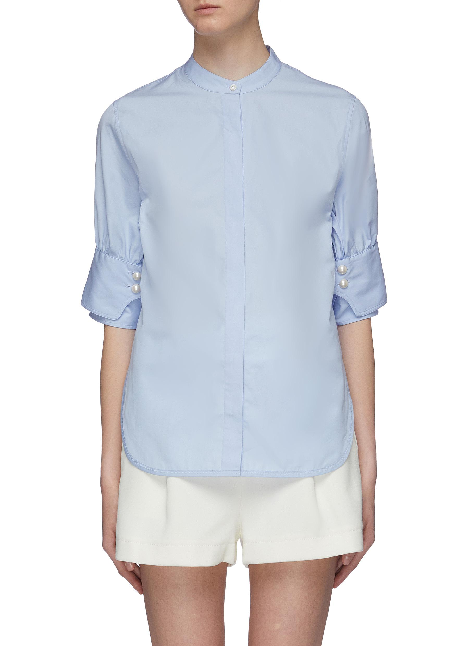 Belted back faux pearl cuff short sleeve shirt by 3.1 Phillip Lim