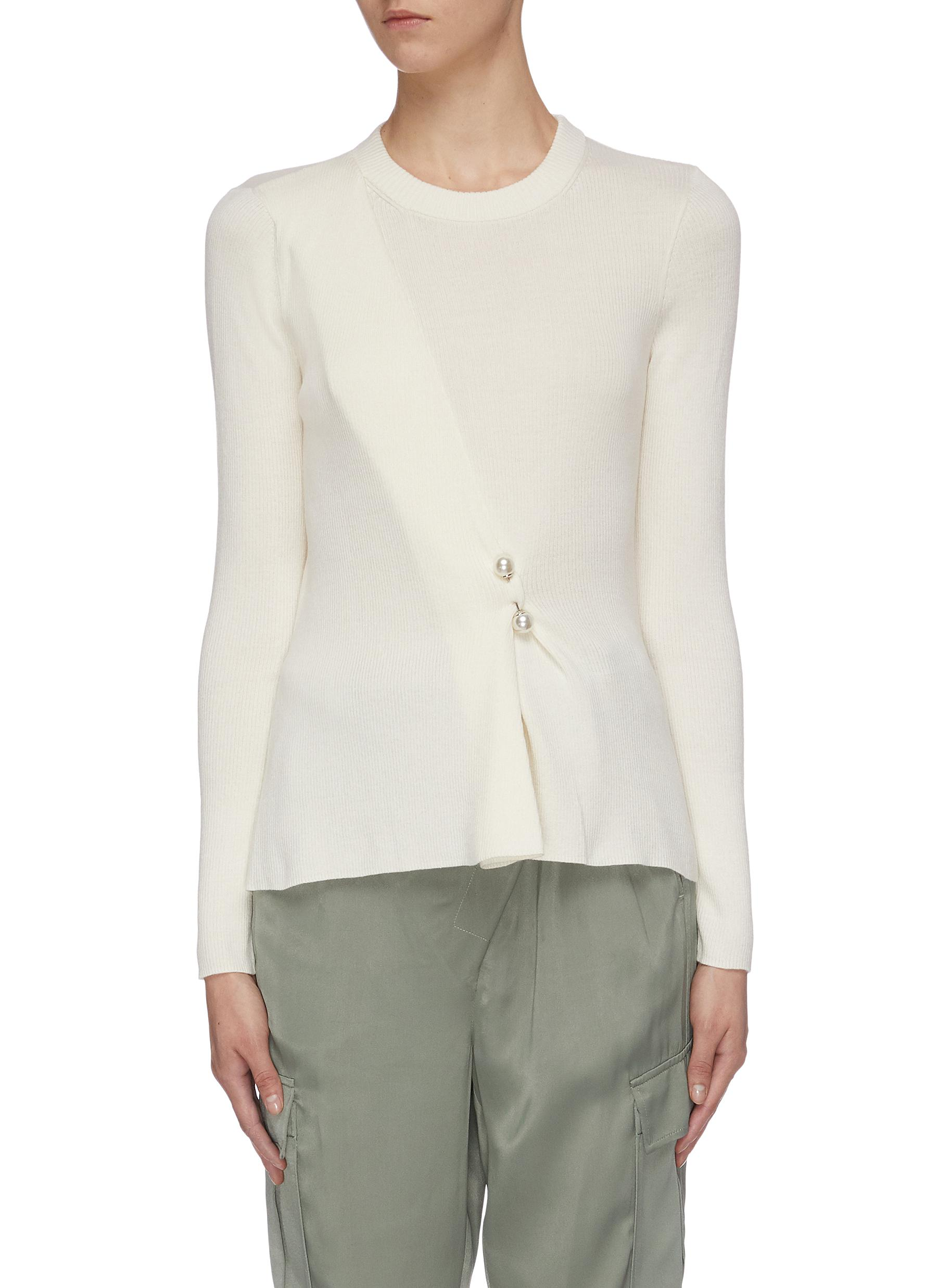 Faux pearl pin sweater by 3.1 Phillip Lim