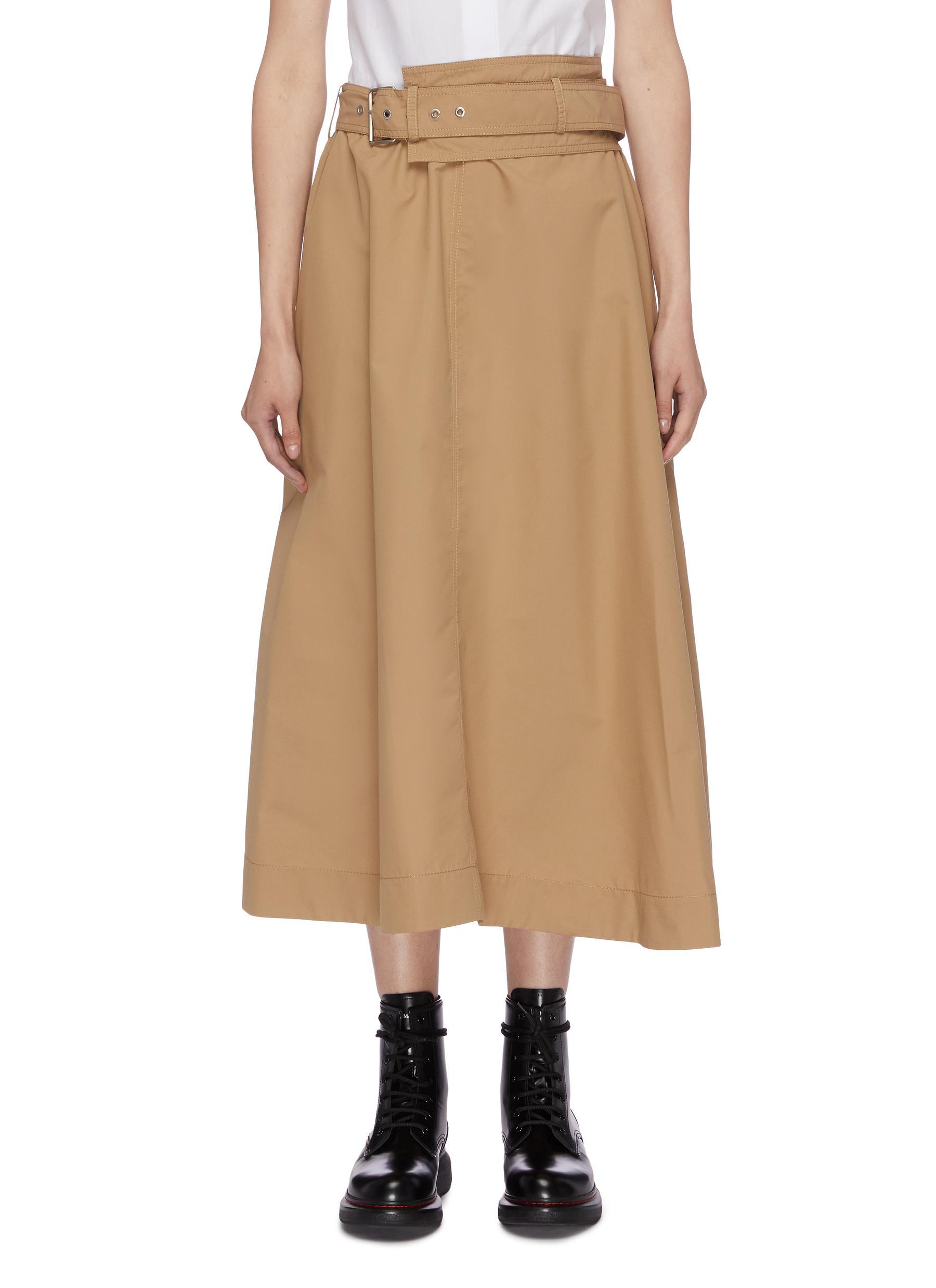 Belted split hem asymmetric poplin skirt by 3.1 Phillip Lim