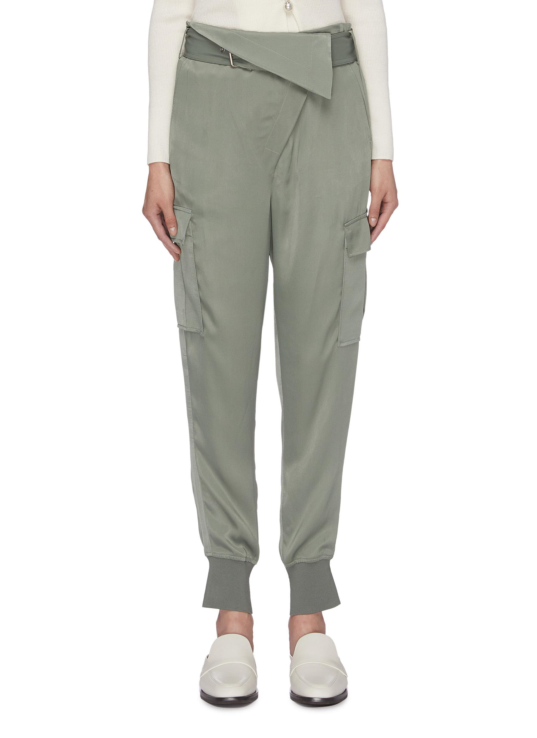 Belted foldover waist satin cargo jogging pants by 3.1 Phillip Lim