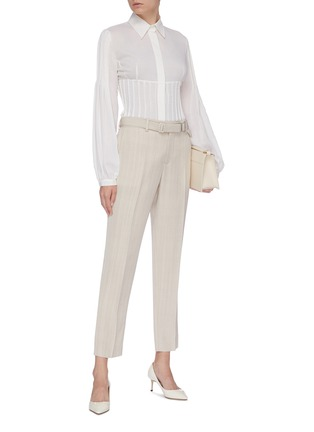 Figure View - Click To Enlarge - GABRIELA HEARST - 'Gertrude' pintuck flared wool-cashmere twill shirt