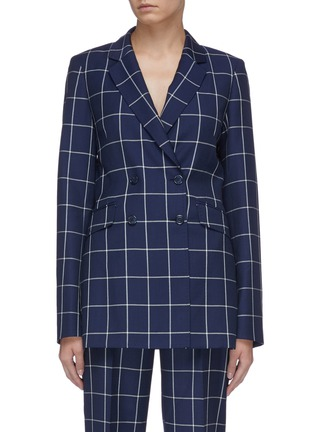 Main View - Click To Enlarge - GABRIELA HEARST - 'Miles' windowpane check double breasted wool blazer