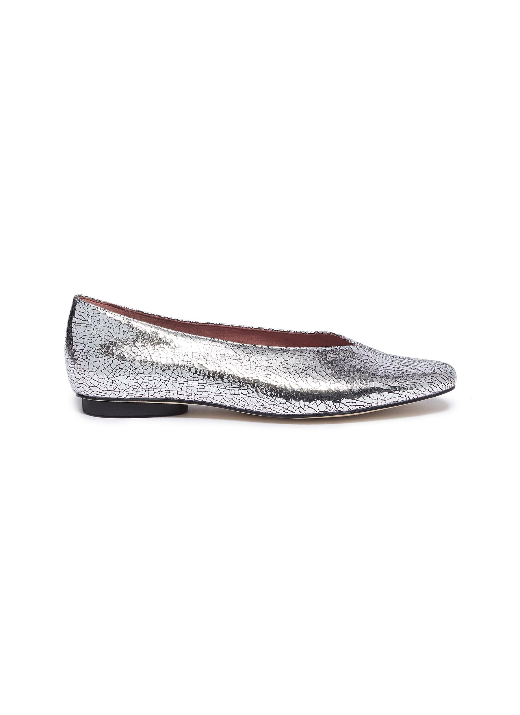 Abe choked-up metallic leather flats by Pedder Red