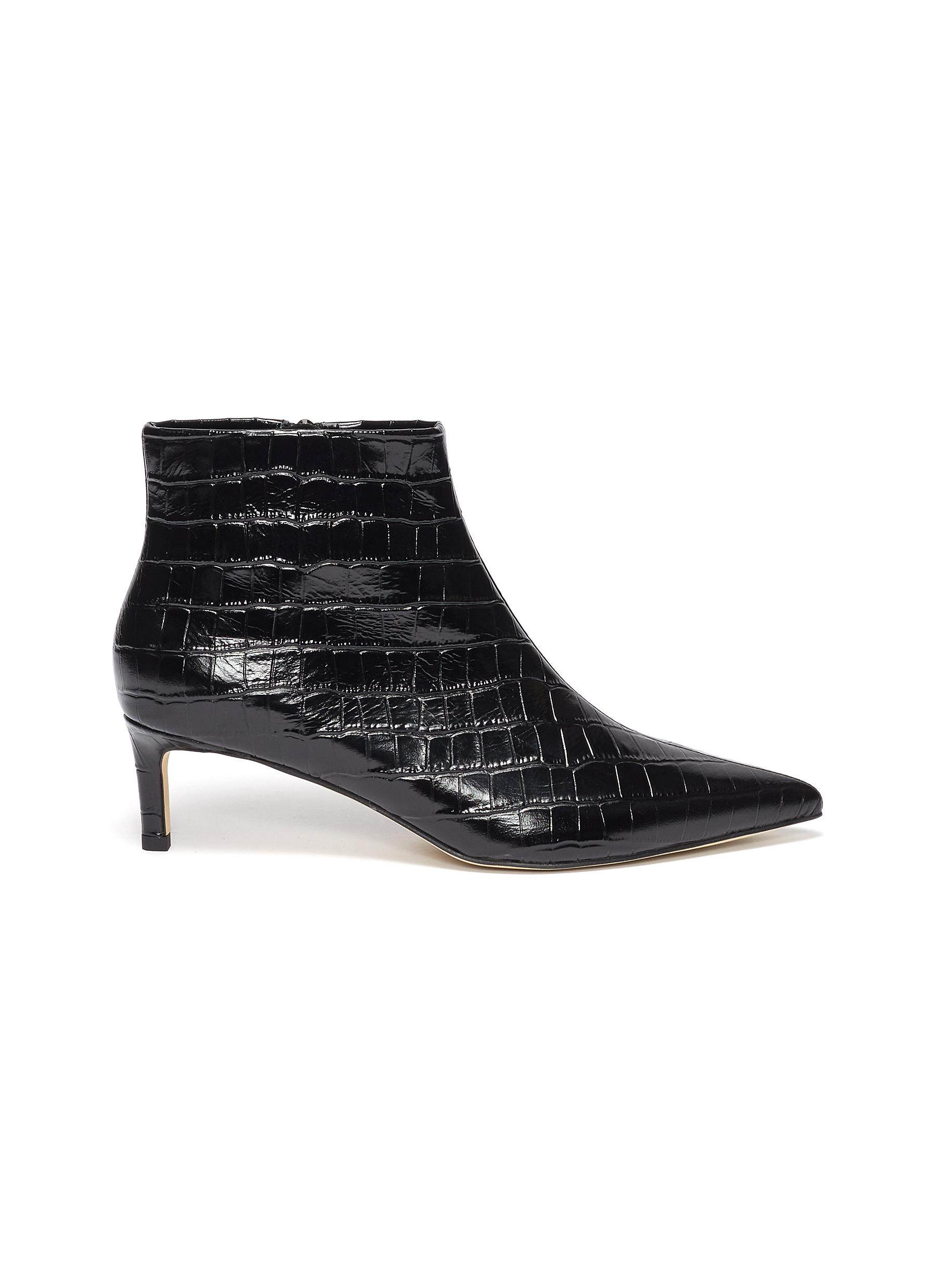 Bethany croc embossed leather ankle boots by Pedder Red
