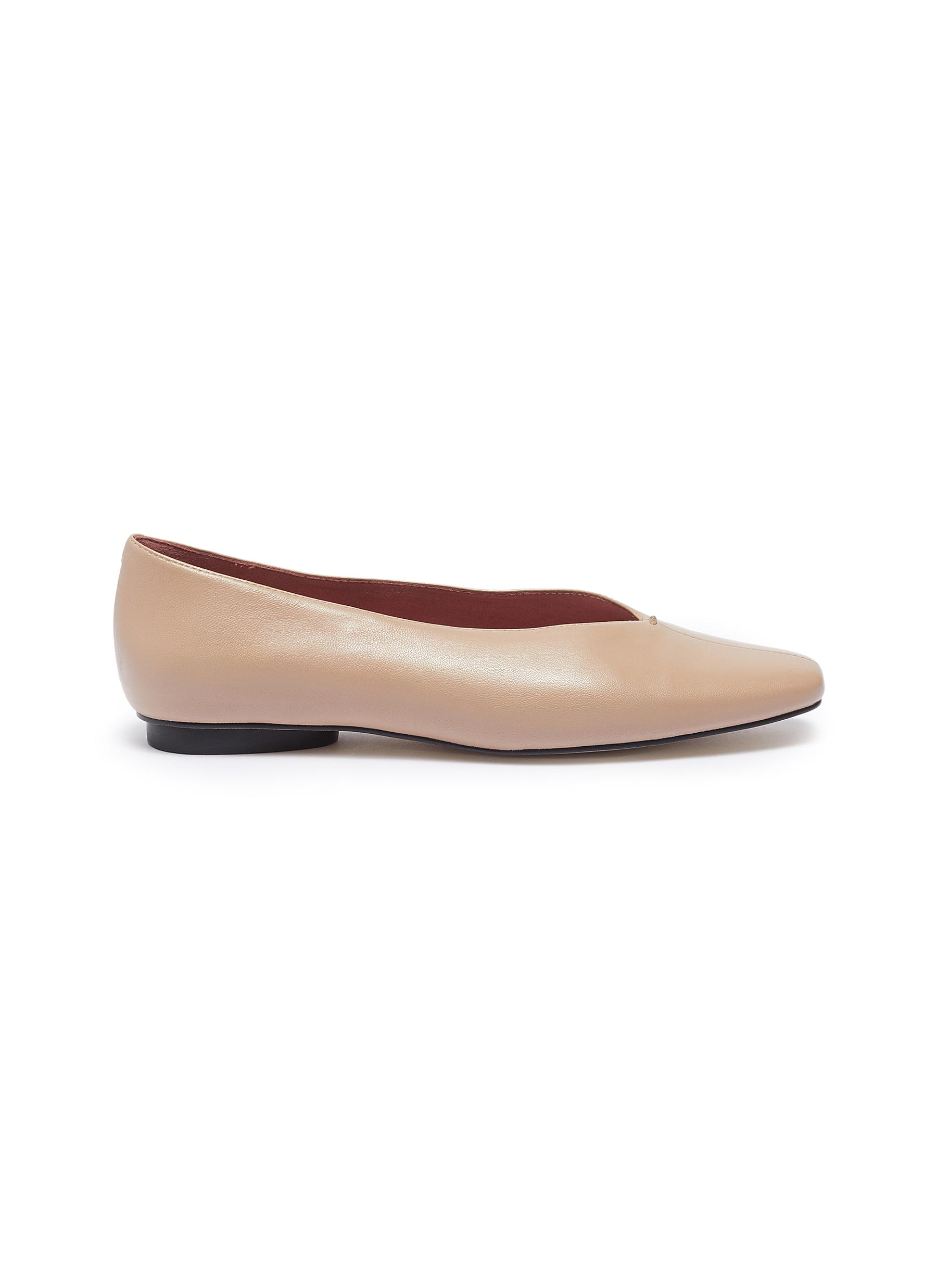 Abe choked-up leather flats by Pedder Red