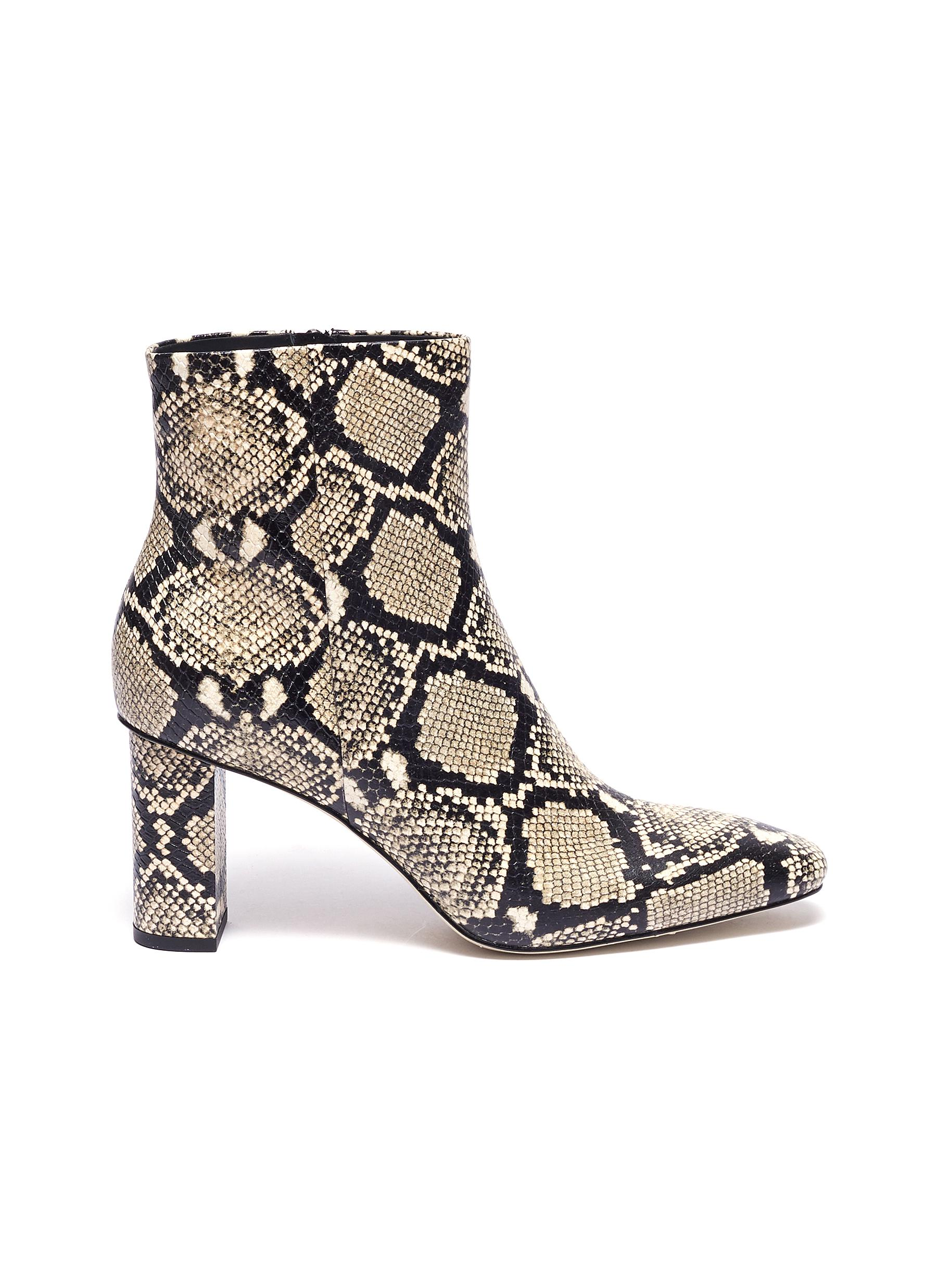 Bailey python embossed leather ankle boots by Pedder Red