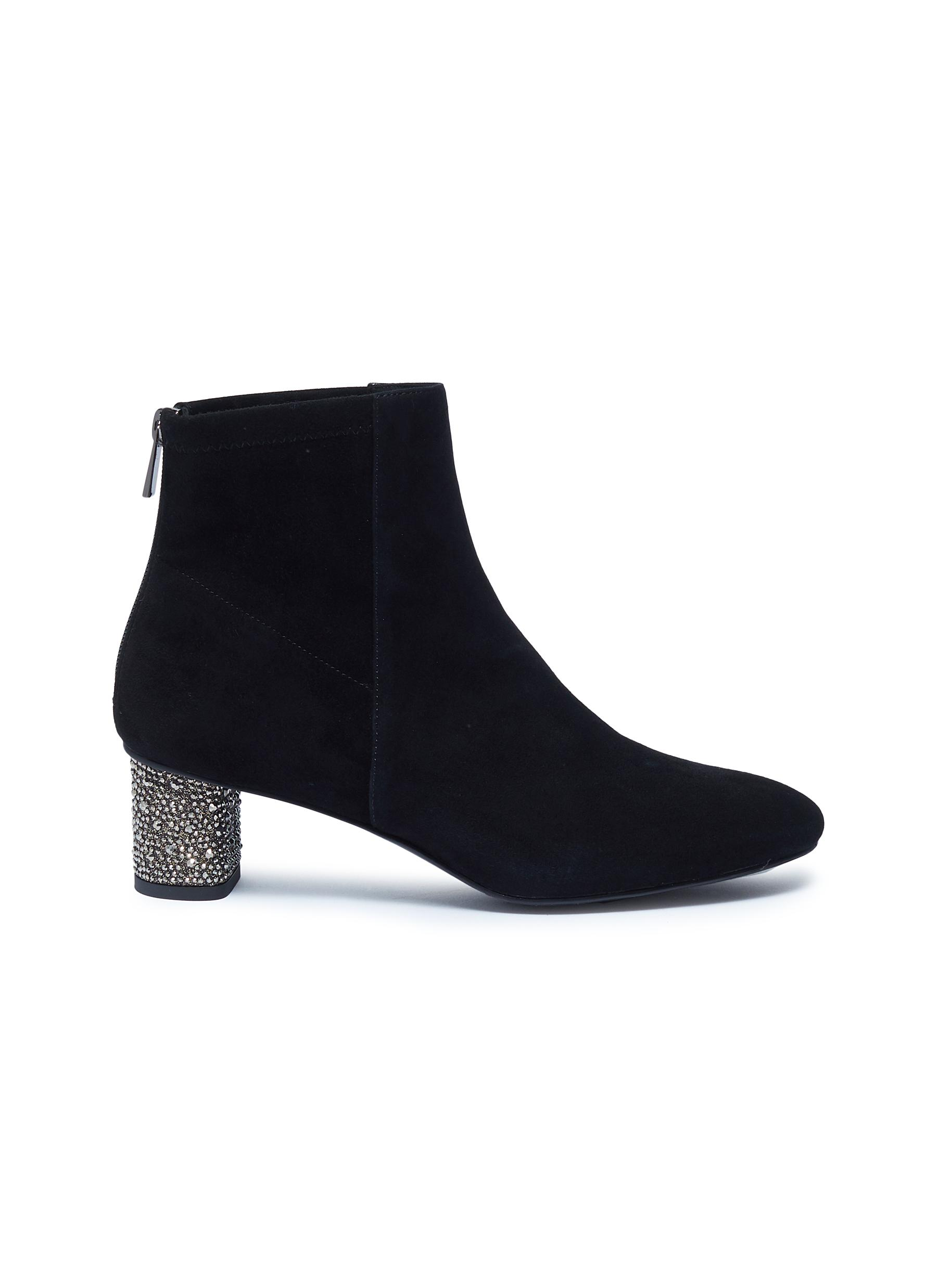 Fred strass heel suede ankle boots by Pedder Red
