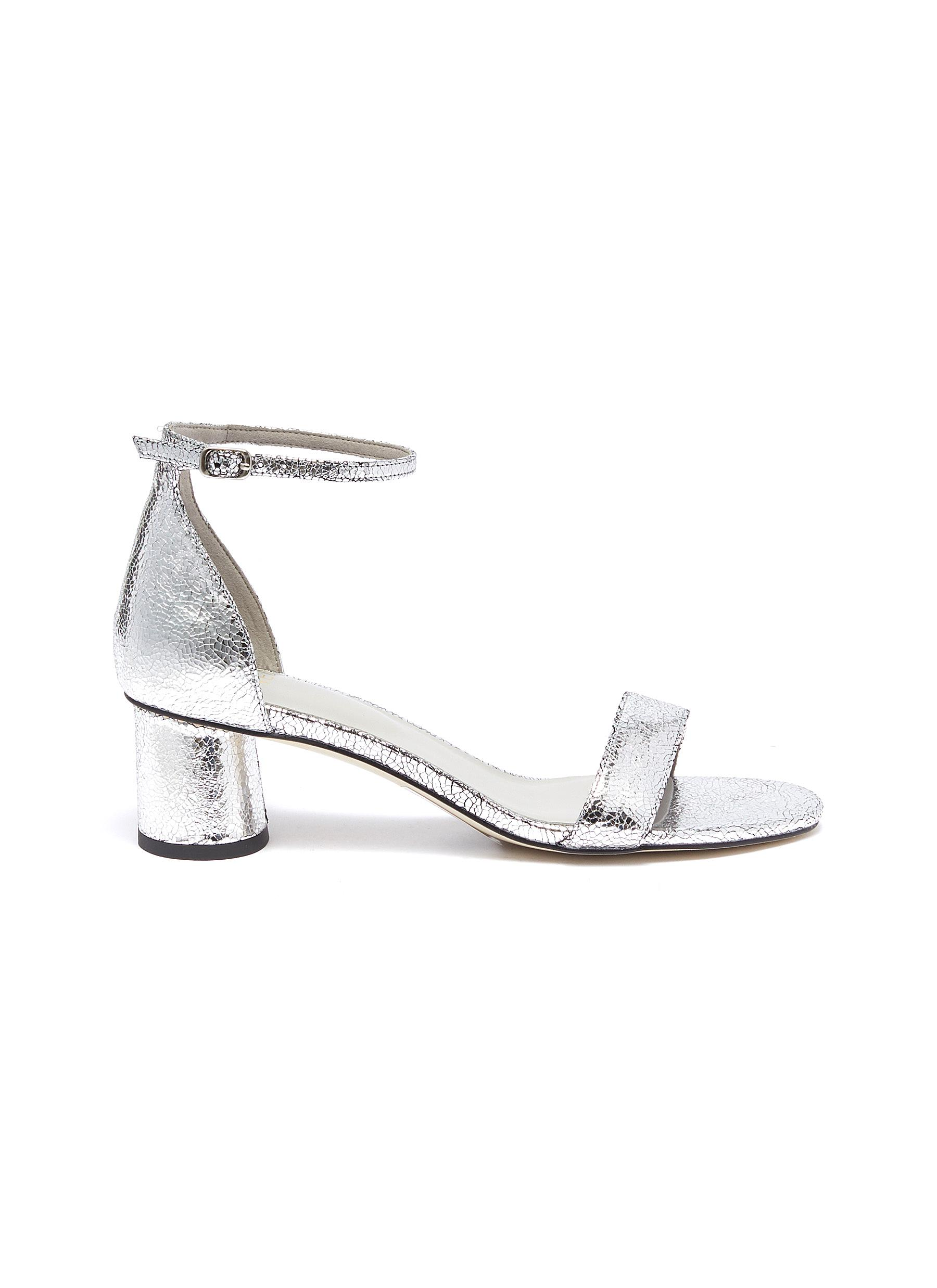 Alvin Ankle strap metallic leather sandals by Pedder Red