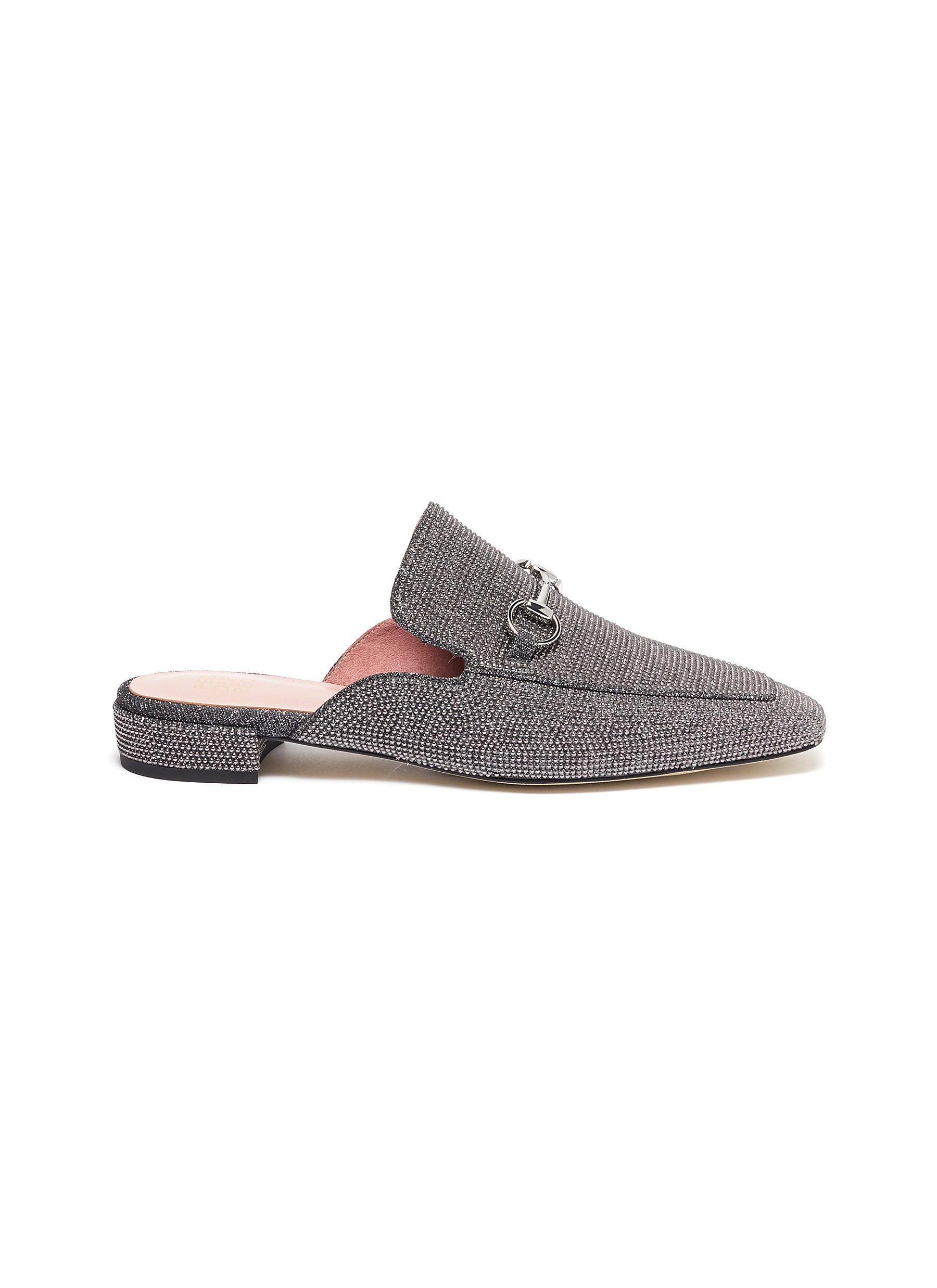 Zander horsebit strass embellished loafer slides by Pedder Red