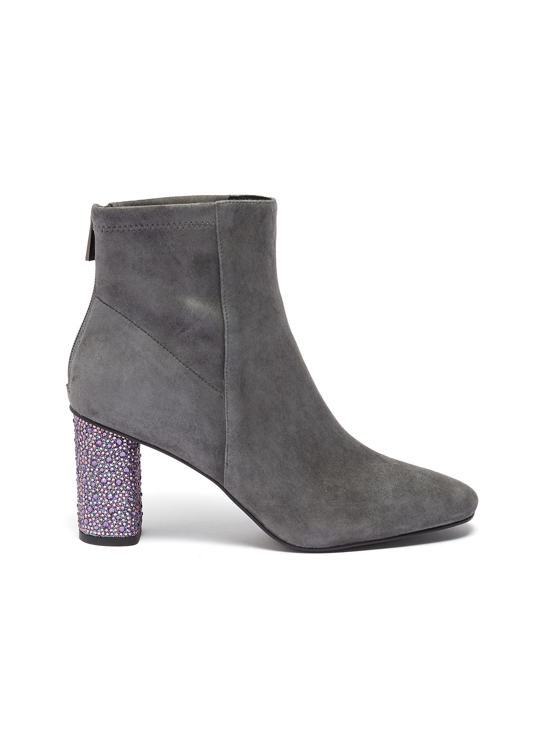 Billy strass heel stretch suede ankle boots by Pedder Red
