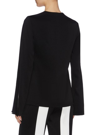 Back View - Click To Enlarge - GALVAN LONDON - 'Ray' pleated chiffon stripe flared sleeve crepe top