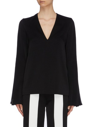 Main View - Click To Enlarge - GALVAN LONDON - 'Ray' pleated chiffon stripe flared sleeve crepe top