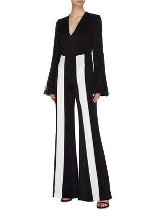 Figure View - Click To Enlarge - GALVAN LONDON - 'Ray' pleated chiffon stripe flared sleeve crepe top