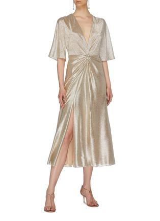 Figure View - Click To Enlarge - GALVAN LONDON - 'Stella' twist front metallic V-neck dress