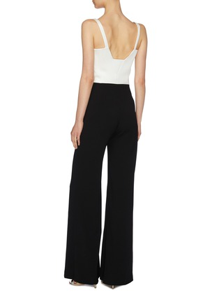 Back View - Click To Enlarge - GALVAN LONDON - 'Signature Corset' colourblock crepe wide leg jumpsuit