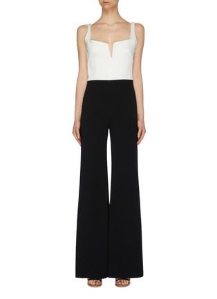 Main View - Click To Enlarge - GALVAN LONDON - 'Signature Corset' colourblock crepe wide leg jumpsuit