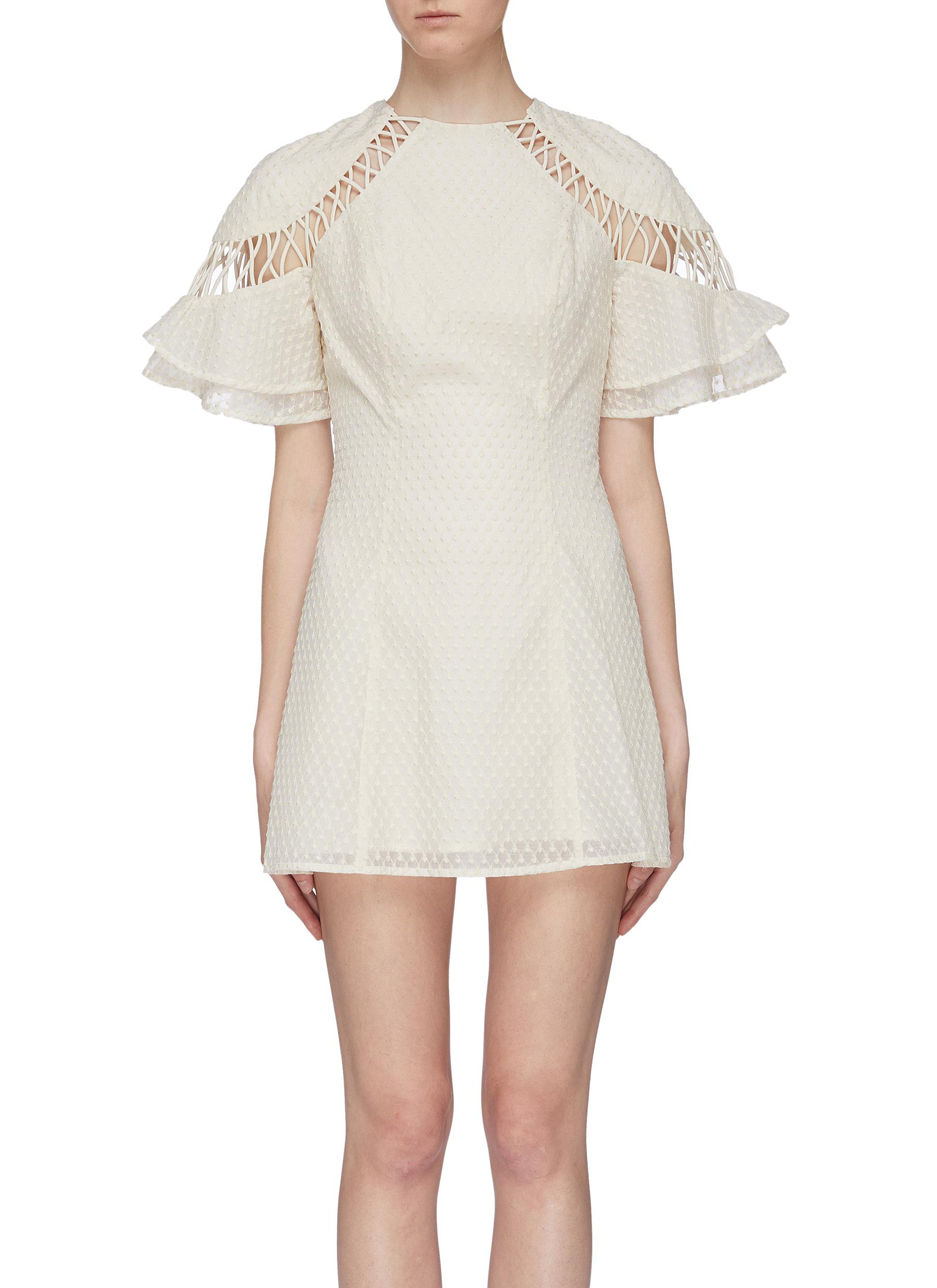 Talk This Over embroidered dot cutout ruffle sleeve dress by C/Meo Collective