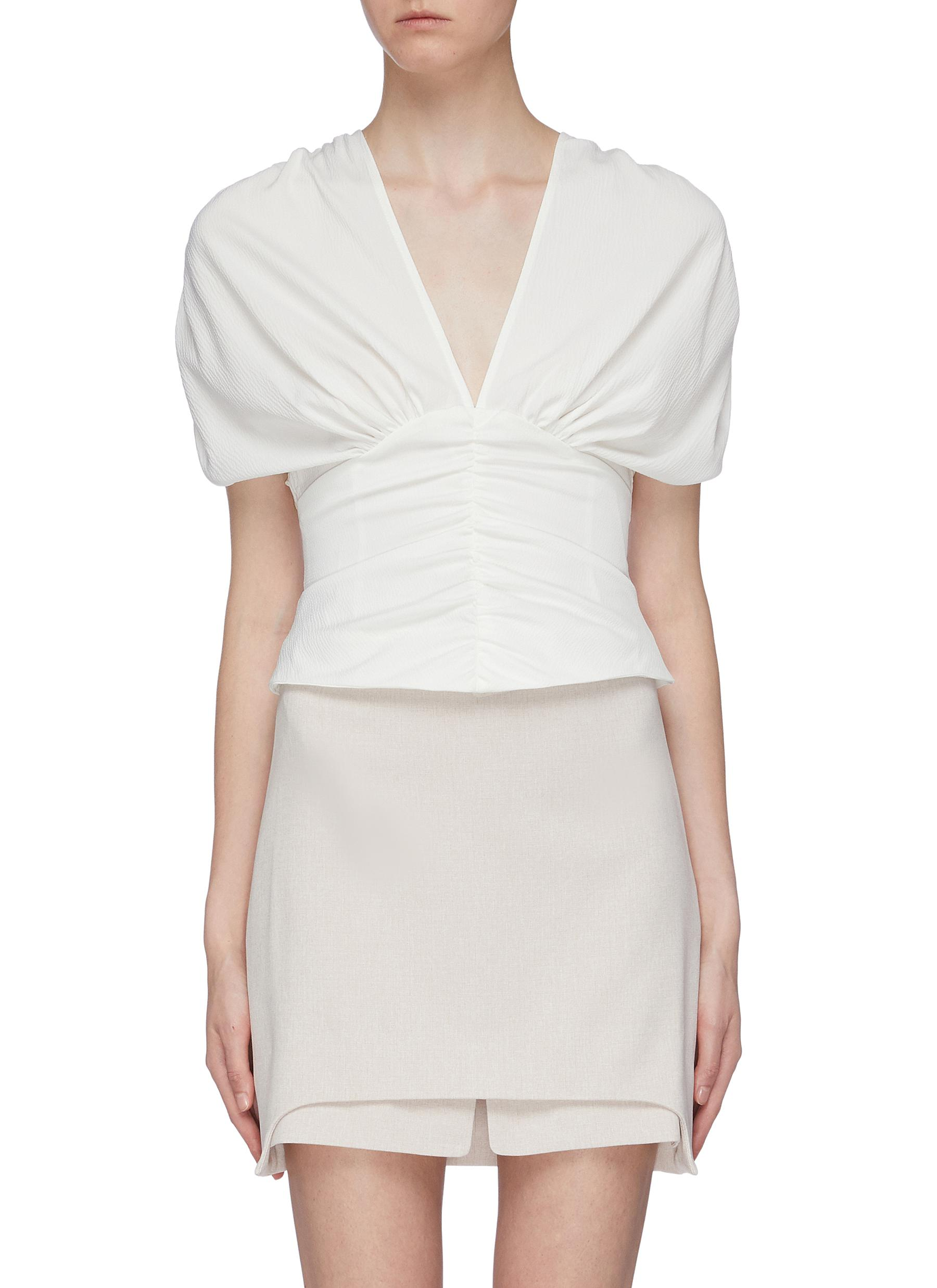 Expired ruched V-neck top by C/Meo Collective