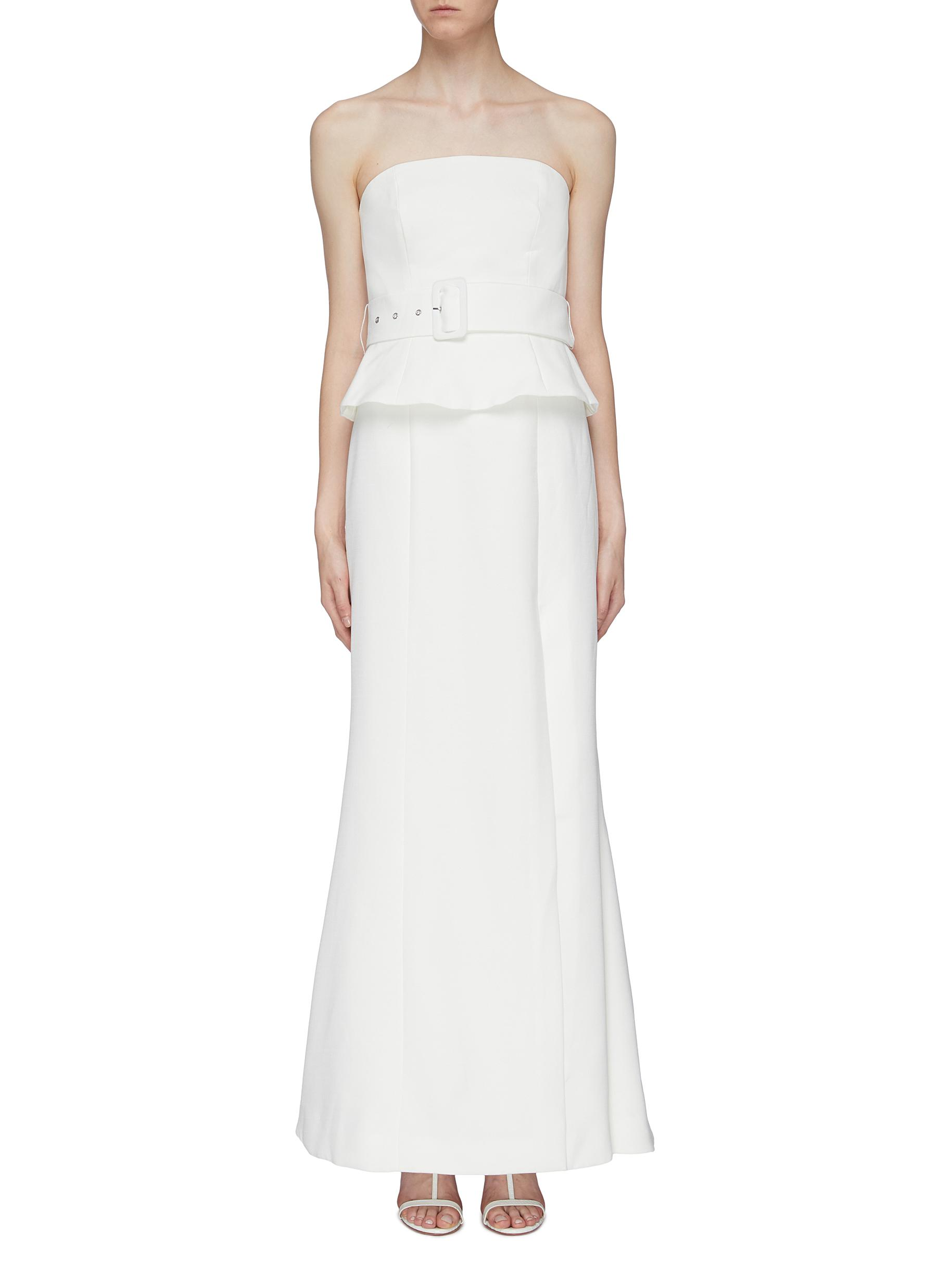 Mode belted peplum strapless gown by C/Meo Collective