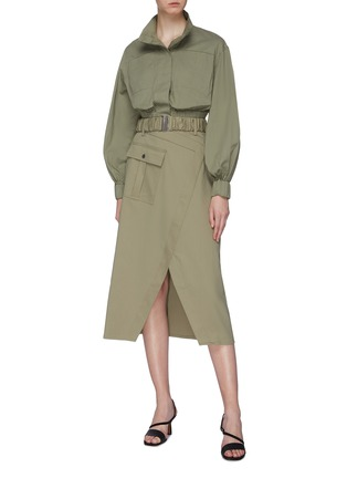 Figure View - Click To Enlarge - C/MEO COLLECTIVE - 'To A Stranger' belted mock wrap skirt